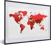 Foto in lijst - Rode wereldkaart op een witte achtergrond fotolijst zwart met witte passe-partout klein 40x30 cm - Poster in lijst (Wanddecoratie woonkamer / slaapkamer)