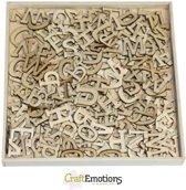 CraftEmotions Houten ornamenten - Alfabet klein 250 assorti  - box 10.5 x 10.5 cm