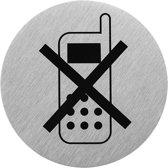 """Aluminium deurbordje """" pictogram telefoon uitschakelen """" Ø75mm"""