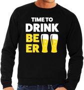 Time to drink Beer tekst sweater zwart voor heren M