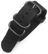 Premium Black - Zulu Nato strap 22mm - Horlogeband Zwart + Luxe pouch