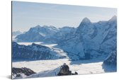 Uitzicht op de Zwitserse Alpen vanaf de berg Schilthorn in Europa Aluminium 120x80 cm - Foto print op Aluminium (metaal wanddecoratie)