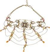 Behave® Dames Multi Layer choker ketting goud-kleur met steentjes 30 cm
