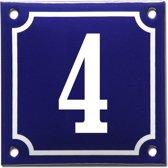 Emaille huisnummer blauw/wit nr. 4