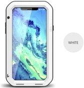 Metalen fullbody hoes voor Apple IPhone X en iPhone XS, Love Mei, metalen extreme protection case, zwart-wit