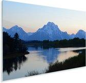 Het Tetongebergte tijdens de schemering in de Verenigde Staten Plexiglas 180x120 cm - Foto print op Glas (Plexiglas wanddecoratie) XXL / Groot formaat!