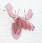 Rendier Roze MDF | Rendierkop Hout | Roze rendier
