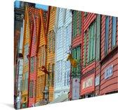 Kleurrijke foto van Bryggen Canvas 60x40 cm - Foto print op Canvas schilderij (Wanddecoratie woonkamer / slaapkamer)