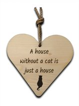 Houten hartje 16x16cm A house without a cat is just a house - 210020072014