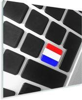 De Nederlandse vlag op een toetsenbord Plexiglas 90x90 cm - Foto print op Glas (Plexiglas wanddecoratie)