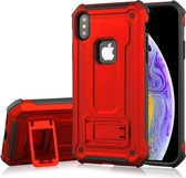 Let op type!! Schokbestendige PC + TPU Armor beschermende case voor iPhone XS  met houder (rood)