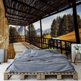 Fotobehang Mountain Terrace View | VEXXL - 312cm x 219cm | 130gr/m2 Vlies