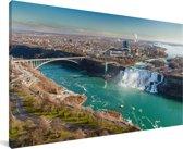 De Niagara watervallen in Noord-Amerika Canvas 80x40 cm - Foto print op Canvas schilderij (Wanddecoratie woonkamer / slaapkamer)