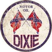 Signs-USA Dixie Gas Weathered - Retro Wandbord - Metaal - 30 cm rond