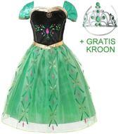 Anna Frozen jurk - Prinsessenjurk - Groen maat 92/98 (110) + Gratis KROON