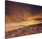 Zonsondergang boven Málaga Canvas 140x90 cm - Foto print op Canvas schilderij (Wanddecoratie woonkamer / slaapkamer) / Europese steden Canvas Schilderijen
