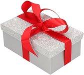 Cadeau gift box set - zilver glitter cadeaudoosje 15 x 9 cm en rood kadolint - kadodoosjes / cadeauverpakking