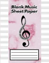 Blank Music Sheet Paper: Music Manuscript Paper, Staff Paper, Musicians Notebook - Song Writing Journal (Beautiful Pink Marble Piano Music Note