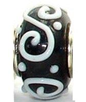Zwarte glaskraal met 3d witte krul | Zilverana | geschikt voor Biagi , Pandora , Trollbeads armband | 925 zilveren kern