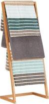 relaxdays handdoekenrek vrijstaand - handdoekhouder 4 roedes - theedoek houder - bamboe