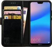 Rosso Element Huawei P20 Lite Hoesje Book Cover Zwart | Ruimte voor drie pasjes | Opbergvakje voor briefgeld | Handige stand functie | Magneetsluiting