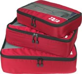 TravelMore Packing Cubes Set - Koffer Organizer - Bagage Inpak Kubussen - Pack Compression Cubes - Travel Bag Ordening - Reis Accessoires - Tas Opbergzakken - 3 Stuks - Rood