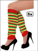 5x Paar Beenwarmers rood/geel/groen smalle streep