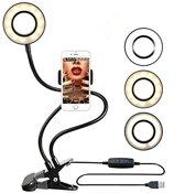 TKSTAR Selfie Ring LED Light met mobiele telefoonhouder standaard - Zwart