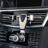 Universele zwaartekracht Telefoon Houder / gravity houder voor in de Auto voor ventilatie rooster – Aluminium & met handig zwaartekracht kliksysteem – Goudkleurig