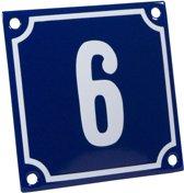 Emaille huisnummer blauw/wit nr. 6 10x10cm