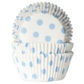 House of Marie Cupcake Vormpjes Stip Wit/Baby Blauw - pk/50