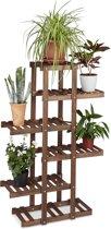 relaxdays - plantenrek van hout - 5 etages - plantentrap 5 planken - bloemen rek chocoladebruin