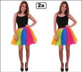 2x Tule rok regenboog one size