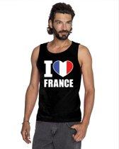 Zwart I love Frankrijk supporter singlet shirt/ tanktop heren - Frans shirt heren XL