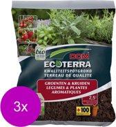 Dcm Potgrond Ecoterra Groenten - Potgrond Turf - 3 x 2.5 l Bio