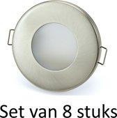 3W GU10 badkamer inbouwspot Zilver mat rond | Koel wit |Set van 8 stuks