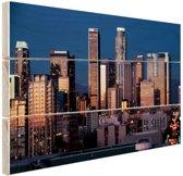 Los Angeles avond skyline Hout 120x80 cm - Foto print op Hout (Wanddecoratie)