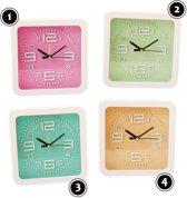 Moderne klok, in vrolijke kleur: roze, nr 1