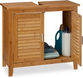 relaxdays - wastafel onderkast LAMELL bamboe - wastafelkast - badkamerkast kast