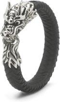 Silk Jewellery S02BLK-19 Armband zilver en leer lengte 19 cm
