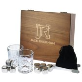 Jack Rackham Whisky gift set - Luxe cadeau set - Met 8 RVS whisky stenen - Whiskey stones - Herbruikbaar - Whisky glas - Met tang - Whiskey set - Whiskeyglazen