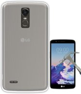 Teleplus LG Stylus 3 Slim Soft Silicone Case Transparent + Glass Screen Protector hoesje