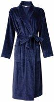 Dames badjas in velours badstof van 100 % katoen in de kleur blauw. Q15-16/R16