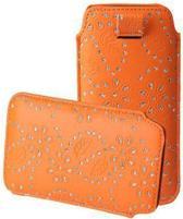Bling Bling Sleeve voor uw Point Of View Mobii Phone 5045, Oranje, merk i12Cover