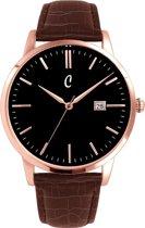 Colori Connaisseur 5 COL485 Horloge - Leren Band met Croco Print - Ø 34 mm - Bruin / Rosékleurig
