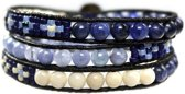 Bela Donaco Wikkel armband Blue Jeans - Fossil, Sodaliet, blauwe Kwarts en Tjechisch glas