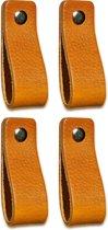 Leren handgrepen - Okergeel- 4 stuks - 16,5 x 2,5 cm | incl. 3 kleuren schroeven voor de leren handgreep