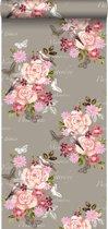 HD vliesbehang bloemen en vogels sepia bruin - 138121 van ESTAhome.nl