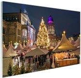 Typisch Berlijnse kerstmarkt Glas 90x60 cm - Foto print op Glas (Plexiglas wanddecoratie)