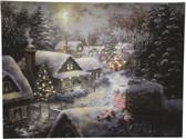 Canvas op houten frame - Dorp in kerstsfeer - led verlichting - Kerst